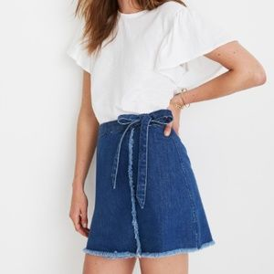 Madewell Raw-Hem Mini Wrap Skirt